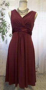 David's Bridal burgundy dress v-neck size 4 E44239